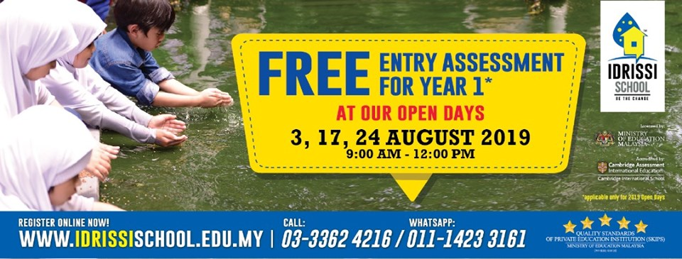 August Open Days: Free Year 1 Entry Assessment Test @ IDRISSI International School