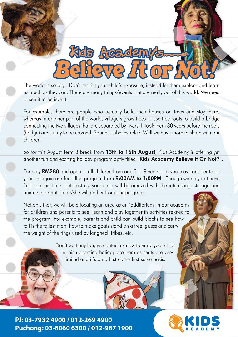 Kids Academy's Believe It or Not!