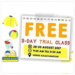 Free 3 Day Trial Classes at Genius Aulad Bangsar