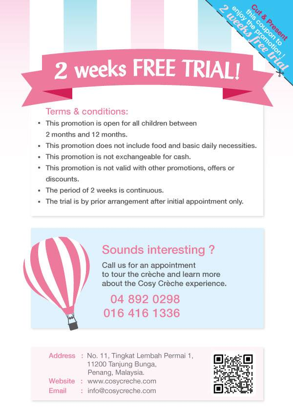 Cosy Creche Penang - 2 Weeks Free Trial Coupon