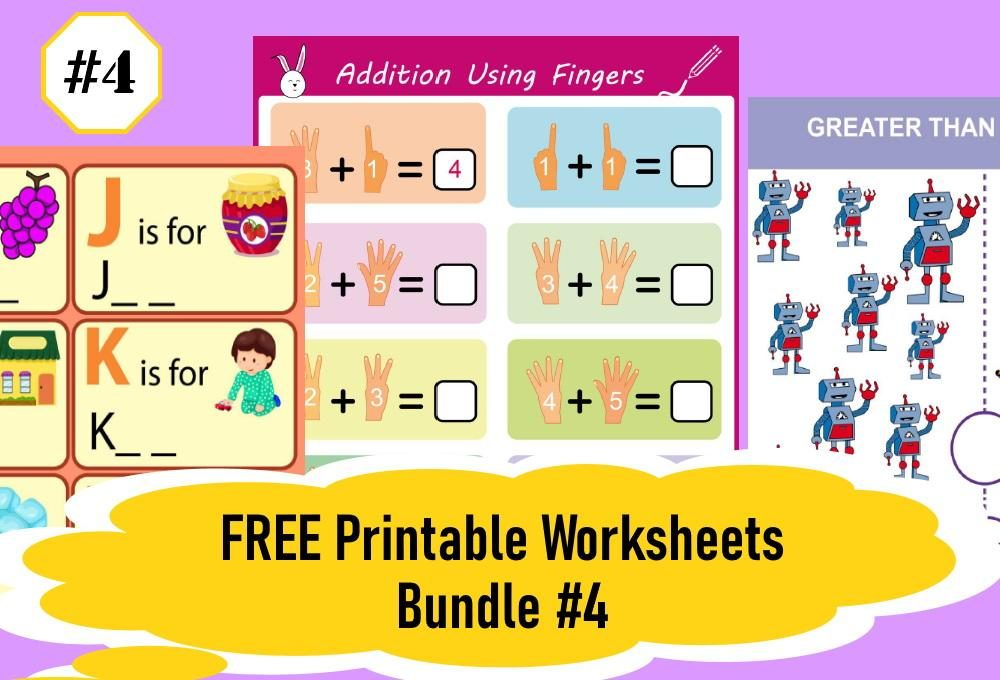 FREE Printable Worksheets for Kids | Bundle #4