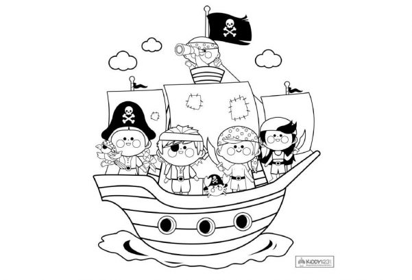 ART - Colouring Pirate Ship