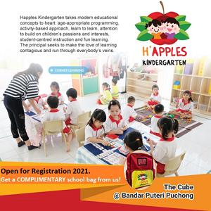 Register NOW & Get a FREE School Bag @ H'Apples Kindergarten, Bandar Puteri Puchong