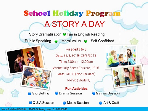 Jolly Seeds School Holiday Program; A Story A Day