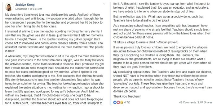 Mum supports teacher who scolded her daughter