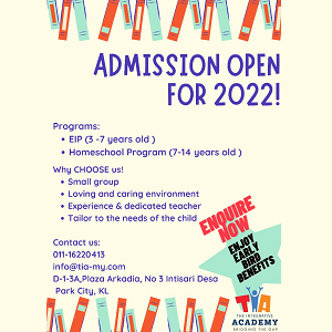 Admission Open for 2022 - The Integrative Academy, Plaza Arkadia